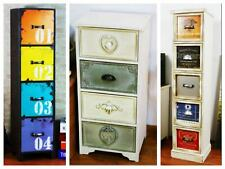 Retro Drawer Storage Cabinet Side Table Rustic Lamp Furniture Colourful cabinet