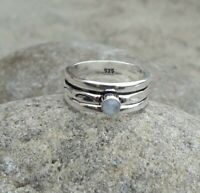 Moonstone Solid 925 Sterling Silver Spinner Ring Statement Ring Size M442