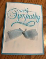 Sympathy Card Hand Inked Words On Embossing Double Organdy Bow Handmade