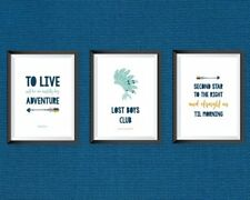Peter Pan Disney prints set of 3 - home decor little boys bedroom nursery quote