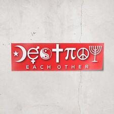 Destroy Each Other Bumper Sticker (Red) Sarcastic Atheist Coexist Stickers