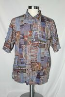 Tori Richard Button Front Geometric Hawiian Shirt XL