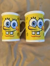 Set of 2) Spongebob Square Pants Mugs / Coffee / Tea-2013 Viacom-Euc