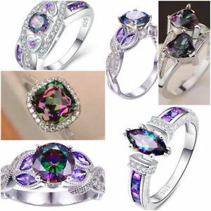 Gorgeous Mystic Topaz 925 Silver Rings Fashion Wedding Women Rings Sz 6-10