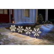"Set of 4 Home Accents HOLIDAY 10"" SNOWFLAKE Pathway String Lights Sidewalk NEW"