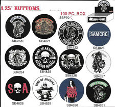 Sons of Anarchy Multiple Images Metal Button Assortment of 100, NEW BOXED