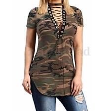 UK 8-24 ZANZEA Women Short Sleeve Choker Lace-up Bodycon Slim Top T-shirt Blouse