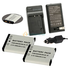 2x EN-EL19 ENEL19 Battery +Charger for Nikon Coolpix S2500 S3100 S4100 Camera