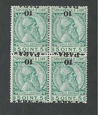 ALBANIA # 48a  INVERTED SURCHARGE (Block of Four)