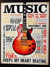 Music Inspires TIN SIGN Metal Poster Art Vtg Retro Guitar Player Wall Decor