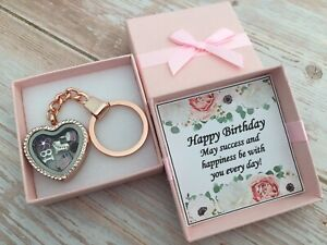 Personalised HAPPY BIRTHDAY Gifts Rose Gold Locket Keyring 16th 21st 30th 40th