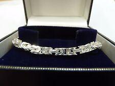 "New Solid Sterling Silver.925 Chunky Byzantine Bracelet 8""  24 grams"