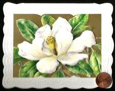 CAROL'S ROSE GARDEN White Gardenia Gold  *EMBOSSED* Blank Small Note Card NEW