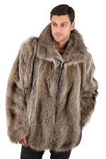 Mens Raccoon Fur Coat Jacket Real Bomber Style Zippered