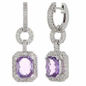 14k White Gold 0.50ctw Amethyst & Diamond Huggie Hoop Door Knocker Earrings
