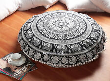 Indian Style Mandala Round Throw Pillow Cushion Cover Black 32''