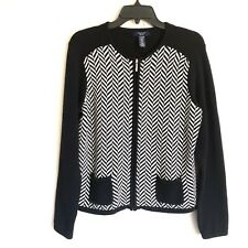 CHAPS Sweater Sz PXL Black & White Herringbone Full Zip Cardigan