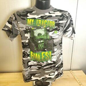 Boy's John Deere Camo My Tractor Rules! T-Shirt Size Large (14)