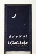 Noren Japanese Door curtain Indigo Blue Navy Usagi Rabbit Moon Wa Pattern Japan