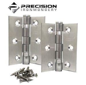 """Pair Internal Door Hinges Satin Steel Ball Bearings 75mm x 50mm ( 3"""" x 2"""" )"""