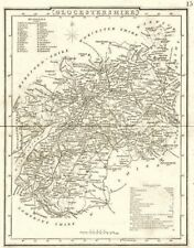 GLOUCESTERSHIRE. County map. Polling places. Coach roads. DUGDALE 1845 old