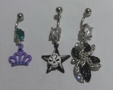 Lot of 3 Belly Button Ring Dangle Navel Set Piercing Body Jewelry skull crown