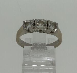 Ring 3 Diamant ca. 0,8ct.Gold 14kt. Größe 60 Um 1960 Vintage