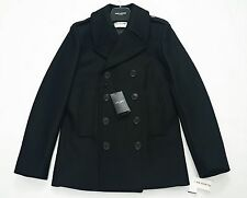 Saint Laurent Paris Negro de Lana Cruzado PEA Coat Talla IT46