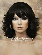 Dark Brown Flipped End curls center part w. Bangs Wig BI 4