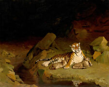 Tiger and Cubs by Jean-Léon Gérôme 60cm x 47.8cm Canvas Print
