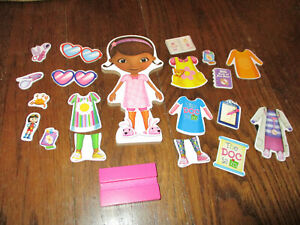 Doc McStuffins Magnetic Wood Doll Lot 20 pcs Clothes Dress Up Accessories Cute!