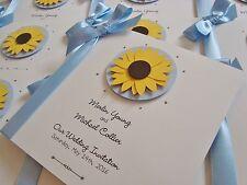 Personalised Ribbon Tied Luxury Sunflower Wedding Invitation Sample