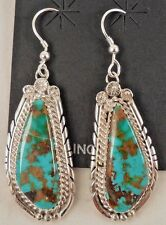Unique Navajo Handmade Kingman Turquoise Earrings Set in Sterling Silver