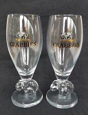 Two Stunning CRABBIES Ginger Beer  Elephant Stemmed  Half Pint Glasses  - NEW