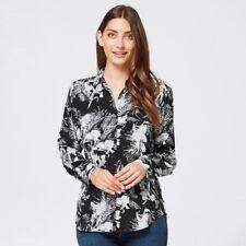 Floral Printed Black White Mono Palm Button Down Long Sleeve Shirt Size 20