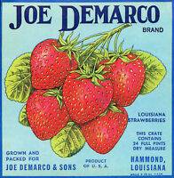 Joe DeMarco 1940's Louisiana Strawberries Original Crate Label  Vintage NOS
