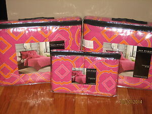 MAX STUDIO Home Girl's Pink/Orange Geometric SET OF TWO TWIN QUILTS & SHAMS New