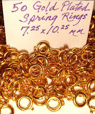 GOLD PLATED SPRING RINGS 7 mm Findings  FOR CHAINS FOBS  NECKLACES  50 + pcs