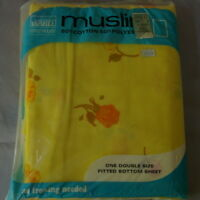 Montgomery Ward Muslin Yellow Vintage Full Fitted Bed Sheet NEW or Fabric USA