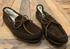 Minnetonka Moccasin Men's Pile Lined Hardsole Suede Slippers Brown Size 9