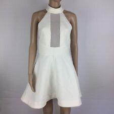 Kendal & Kylie Cream Keyhole Mesh Front Skater Dress Size 10 (AK17)
