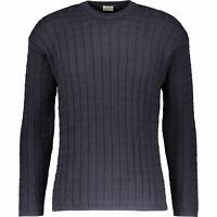 "ARMANI JEANS Men's Textured Cotton Knit Jumper, Navy Blue, size M for chest 38"""