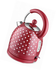 Kitchen Originals by Kalorik JK39083 Polka Dot Dome Kettle, Stainless Steel, Red