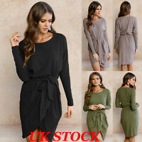 UK New Womens Belted Long Sleeve Evening Party Cocktail Ladies Short Mini Dress
