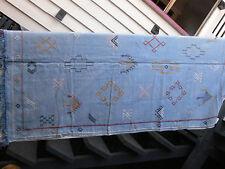 Light Blue Moroccan Handmade Berber Sabra Silk & Cotton Kilim 197x116cm