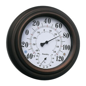 Thermometer Hygrometer Gilt Garden Greenhouse Home Office - Measures Temperature