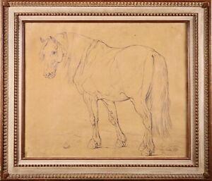 EUGENE VERBOECKHOVEN (1798-1881) LARGE SIGNED 1859 PENCIL PAPER DRAWING HORSE