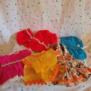 Vintage 60-70's 8pc Doll Clothes Lot Various Sizes #1D-Knit items Vogue?Dresses+
