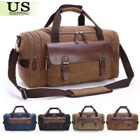 Canvas Leather Travel Bag Men Duffle Tote Bag Carry-On Shoulder Handbag Luggage