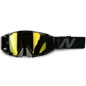 NITRO NV-100 BLACK GREY MX MOTOCROSS MOTORBIKE DIRT BIKE QUAD GOGGLES GOLD LENS